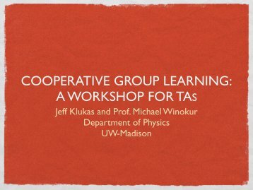 COOPERATIVE GROUP LEARNING: A WORKSHOP FOR TAS