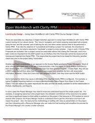 Digital Celerity's Open WorkBench with Clarity PPM Courseware ...