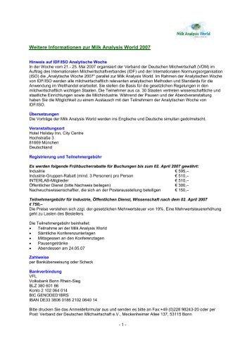 Weitere Informationen zur Milk Analysis World 2007