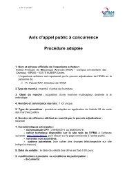 Avis d'Appel Public à Concurrence - AAPC - IFMA