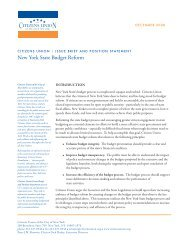 Issue Brief and Position Statement on State Budget ... - Citizens Union