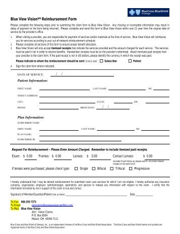 Anthem Blue View Vision Claim Form - myMPCbenefits.com