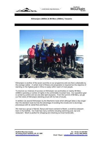 Kilimanjaro (5895m) & Mt Meru - Sheffield Mountain Guides