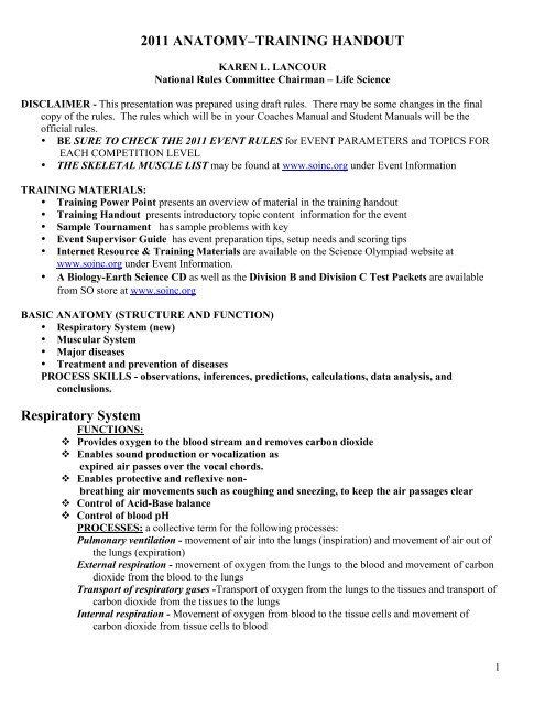2011 Anatomytraining Handout Science Olympiad