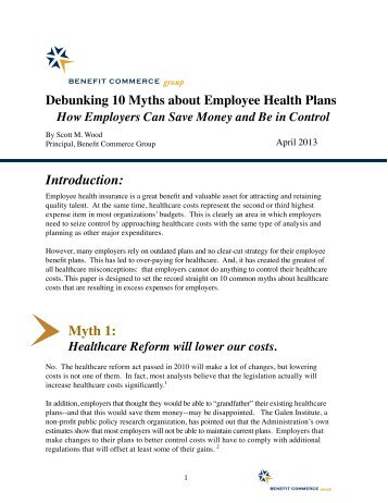 Debunking 10 Myths about Employee Health Plans - Benefit ...