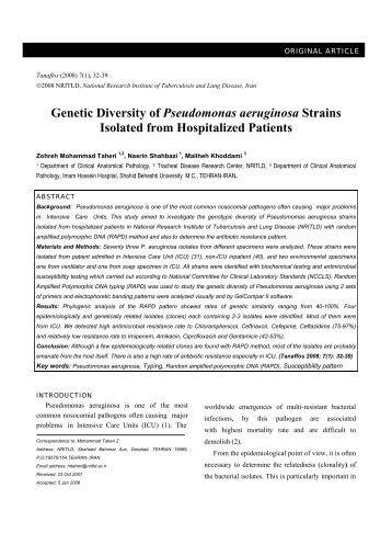 Genetic Diversity of Pseudomonas aeruginosa Strains ... - Tanaffos