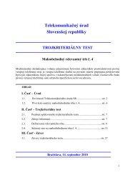 Trojkriteriálny test - Telekomunikačný úrad SR