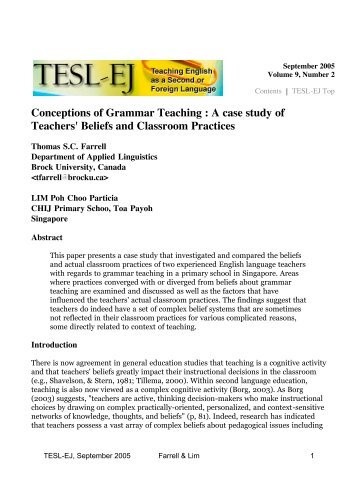 TESL-EJ 9.2 -- Conceptions of Grammar Teaching : A case study of ...