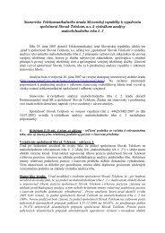 Stanovisko úradu k vyjadreniu spoločnosti Slovak Telekom, a.s.