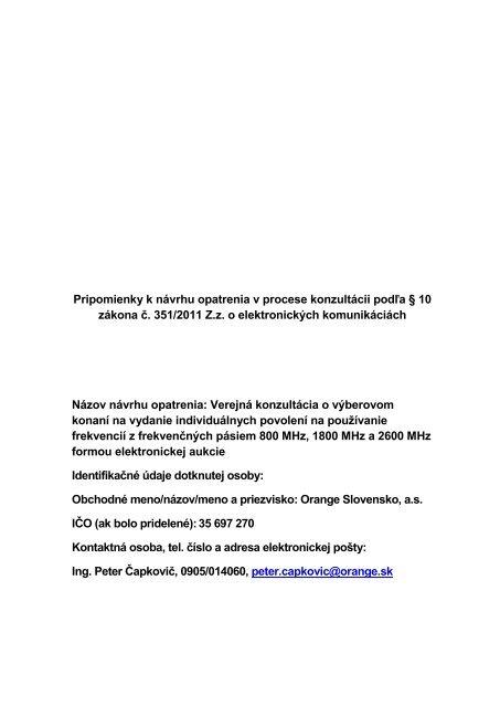 Pripomienky k návrhu opatrenia - Telekomunikačný úrad SR