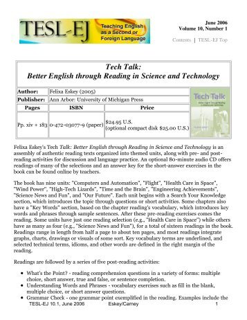 TESL-EJ 10.1 -- Tech Talk: Better English through Reading in ...