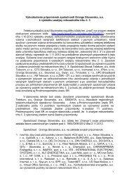 Vyhodnotenie pripomienok spoločnosti Orange Slovensko, a.s. k ...