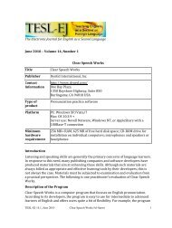 The Electronic Journal for English as a Second Language ... - TESL-EJ