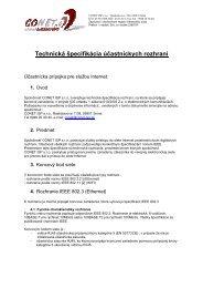 CONET ISP s.r.o., Rastislavova 1138, 069 01 Snina