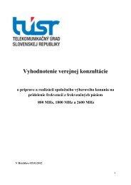 Vyhodnotenie verejnej konzultácie - Telekomunikačný úrad SR