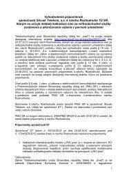 Stanovisko úradu k pripomienkam spoločnosti Slovak Telekom, a.s.