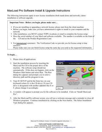 MaxLoad Pro Software Install & Upgrade Instructions - TOPS ...