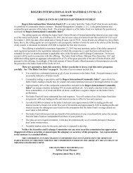 rogers international raw materials fund, lp - Uhlmann Price Securities