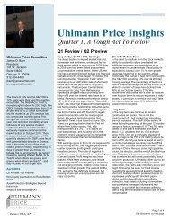 Quarter 1 2012 Uhlmann Price Newsletter - Uhlmann Price Securities