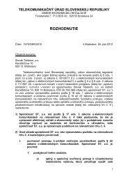 Rozhodnutie o určení SMP a uložení povinností - Slovak Telekom, a.s.