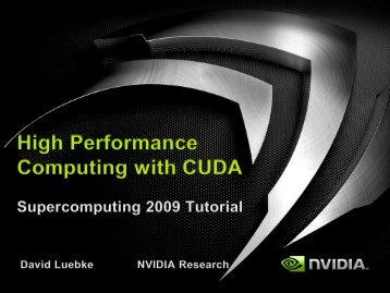 High Performance Computing with CUDA, Part of Supercomputing