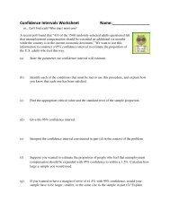 Confidence Intervals Worksheet Name