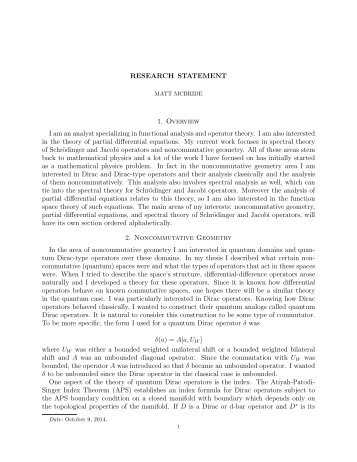Research Statement  Motivation My Interests In Mathematics
