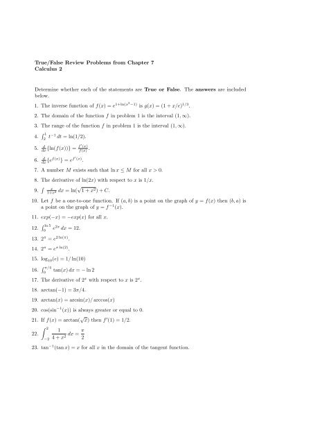 True/False Review Problems from Chapter 7 Calculus 2