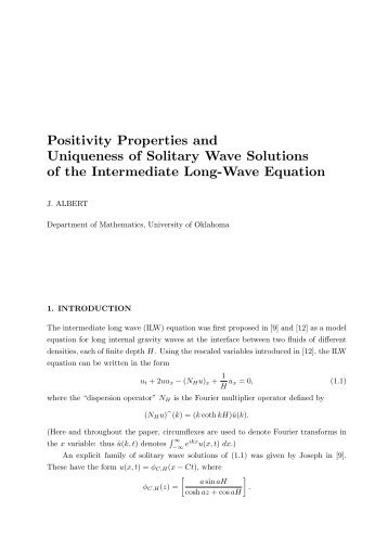 Positivity Properties and Uniqueness of Solitary Wave Solutions of ...