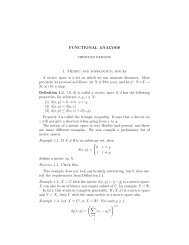FUNCTIONAL ANALYSIS 1. Metric and topological spaces A metric ...