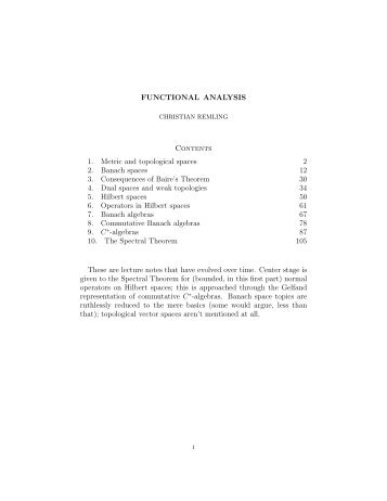 FUNCTIONAL ANALYSIS Contents 1. Metric and topological spaces ...