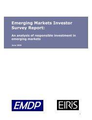 Emerging Markets Investor Survey Report: An analysis of - Eiris