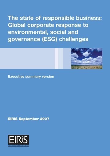 The state of responsible business: Global corporate response ... - Eiris