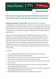 90% of wealth managers say responsible investment ... - Eiris