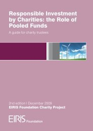 Responsible Investment by Charities: the Role of Pooled Funds - Eiris
