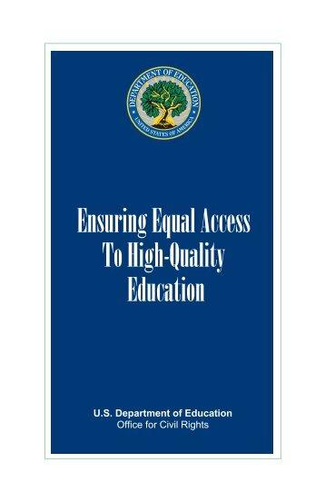 Ensuring Equal Access To High-Quality Education (PDF) - U.S. ...