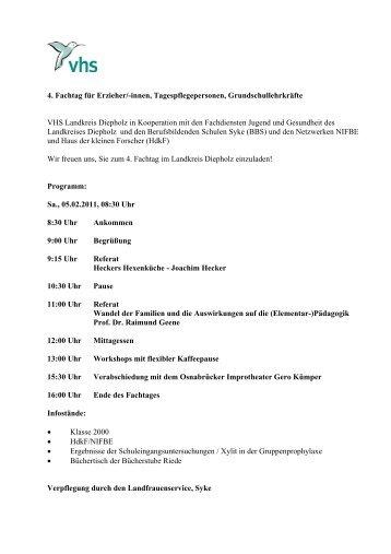 4. Fachtag für Erzieher/-innen, Tagespflegepersonen - VHS Diepholz