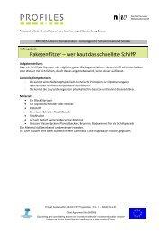 Unterlagen für Schülerinnen und Schüler