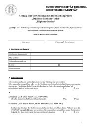 Antragsformular - Juristische Fakultät - Ruhr-Universität Bochum