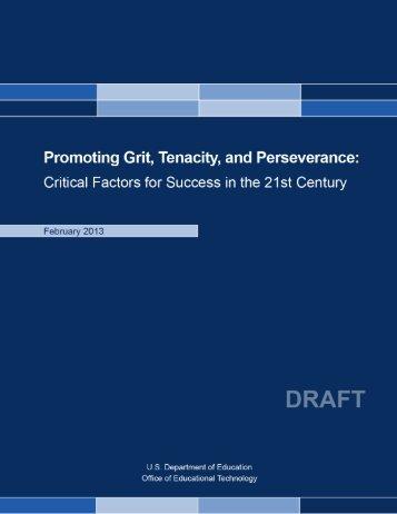 Promoting Grit, Tenacity, and Perseverance report - U.S. Department ...