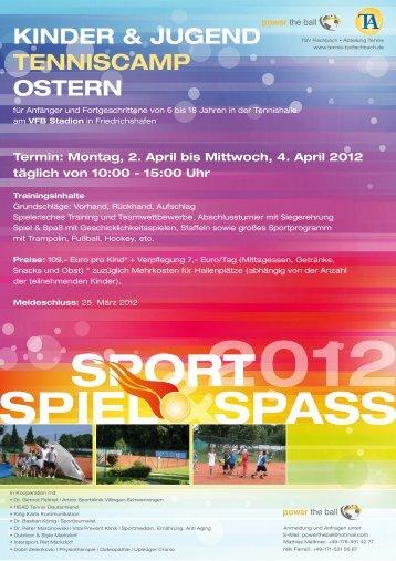 Kinder & JUgend TenniScAMP OSTern - Bastian Koenig
