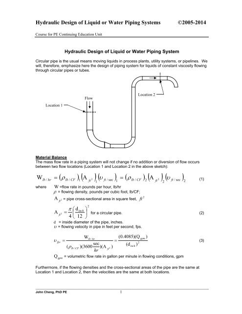 Hydraulic Design of Liquid or Water Piping Systems - Fluid flow CAE