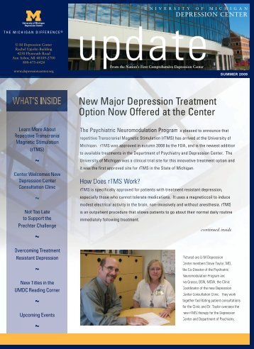 New Major Depression Treatment Option Now Offered At The Center