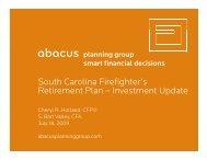 SCFA Presentation – July 2009 - Abacus Planning Group