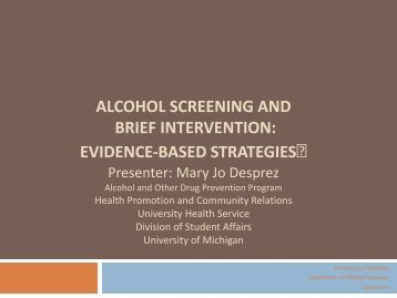 alcohol screening and brief intervention - University of Michigan ...