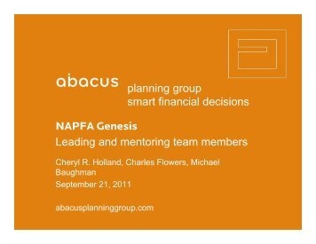 Leading and mentoring team members - Abacus Planning Group