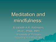 Meditation in Psychiatry - University of Michigan Depression Center