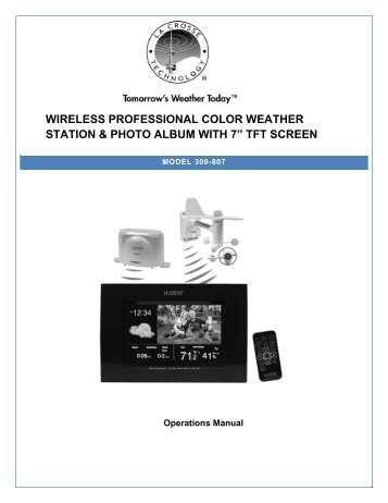 "wireless professional color weather station & photo album with 7"" tft ..."