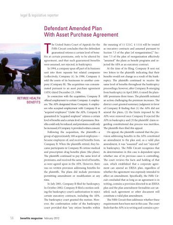 Defendant Amended Plan With Asset Purchase Agreement