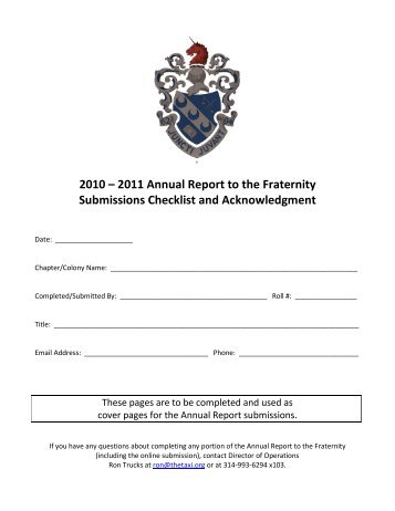 Acknowledgment Page and Submissions ... - Theta Xi Fraternity